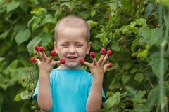 Glückliches kleines Kind mit Himbeere draußen Lizenzfreie Stockbilder