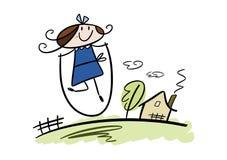 Glückliches kleines Mädchen, das mit überspringendem Seil spielt Lizenzfreie Stockfotos