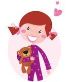 Glückliches kleines Mädchen, das Teddybären umarmt Lizenzfreie Stockbilder