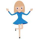 Glückliches kleines Mädchen in einem blauen Kleidertanzen mit seinen Händen angehoben Lizenzfreies Stockbild