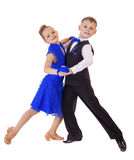 Glückliches kleines Mädchen im blauen Tanzenkleid Lizenzfreie Stockbilder