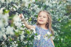 Glückliches kleines Mädchen im Kirschblütengarten Lizenzfreies Stockbild