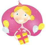 Glückliches kleines Mädchen mit Geburtstaggeschenk Lizenzfreies Stockbild