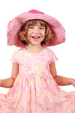 Glückliches kleines Mädchen mit großem Hut Lizenzfreies Stockbild