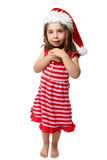 Glückliches kleines Weihnachtssankt-Mädchen lizenzfreies stockbild