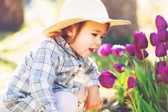 Glückliches Kleinkindmädchen in einem Hut, der mit purpurroten Tulpen spielt Stockbild