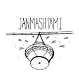 Glückliches Krishna Janmashtami-Konzept Plakat, Fahne, Karte Gezeichnete Schwarzweißabbildung des Vektors Hand Laptop- und Blinke Stockfotos
