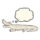 glückliches Krokodil der Karikatur mit Gedankenblase Lizenzfreies Stockbild