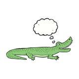 glückliches Krokodil der Karikatur mit Gedankenblase Lizenzfreie Stockfotografie