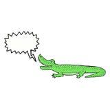 glückliches Krokodil der Karikatur mit Spracheblase Lizenzfreie Stockbilder