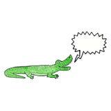glückliches Krokodil der Karikatur mit Spracheblase Lizenzfreies Stockbild