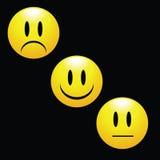 Glückliches Lächeln und trauriges Gesichts-Abzeichen Stockfotos