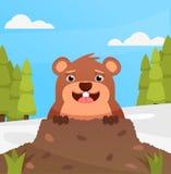 Glückliches lächelndes groundhog auf Grußkarte Frühling oder Winter Flache Illustration Karikaturzeichnung, Lizenzfreies Stockbild