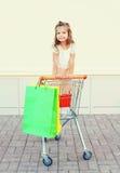 Glückliches lächelndes Kind des kleinen Mädchens, das im Laufkatzenwarenkorb mit bunten Einkaufstaschen sitzt Lizenzfreies Stockfoto