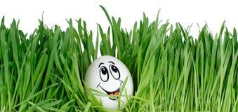 Glückliches lächelndes Osterei auf einem weißen Hintergrund Stockbild
