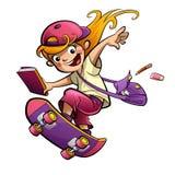 Glückliches lächelndes Studentenmädchen der Karikatur mit dem Skateboard, das zum scho geht Stockfoto