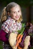 Glückliches Landwirt-Mädchen Stockfotografie