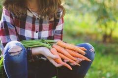 Glückliches Landwirtkindermädchen, das neue Hauptwachstumskarottenernte von eigenem Garten auswählt lizenzfreie stockbilder