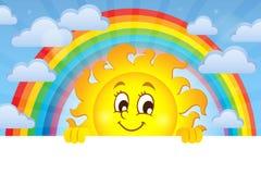 Glückliches lauerndes Sonnenthemabild 3 stock abbildung