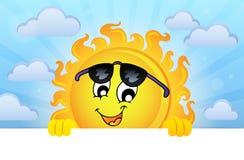 Glückliches lauerndes Sonnenthemabild 5 Stockfotos