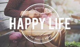 Glückliches Leben-Genuss-Spaß-Hobby-strickendes Konzept Stockfotos