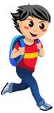Glückliches Little Boy mit der Schultasche, die zur Schule geht Lizenzfreies Stockbild