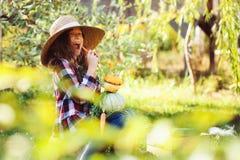 Glückliches lustiges Kindermädchen im Landwirthut und -hemd, die Herbstgemüseernte im sonnigen Garten spielen und auswählen Stockbild