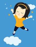 Glückliches Mädchen auf Wolke neun Stockfotografie