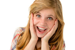 Glückliches Mädchen, das ihre frohen Gefühle ausdrückt Stockbild