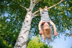 Glückliches Mädchen, das von einem Baum in einem Sommerpark hängt lizenzfreie stockfotografie