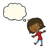 glückliches Mädchen der Karikatur, das gestikuliert, um mit Gedankenblase zu folgen Stockfoto