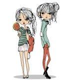 Glückliches Mädchen der Karikatur im roten Kleid Stockfotos