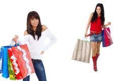 Glückliches Mädchen des Einkaufens zwei Lizenzfreies Stockfoto