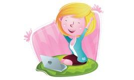 Glückliches Mädchen haben Idee lizenzfreie abbildung