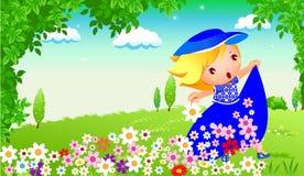 Glückliches Mädchen im Garten vektor abbildung