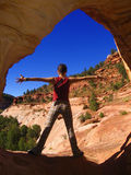 Glückliches Mädchen im Grand Canyon Stockfotografie