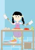 Glückliches Mädchen kochen vor Lizenzfreies Stockbild