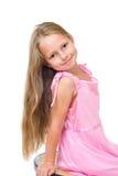 Glückliches Mädchen mit dem langen blonden Haar Stockbild