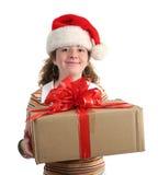 Glückliches Mädchen mit Geschenk Lizenzfreies Stockfoto