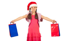 Glückliches Mädchen mit Weihnachtsgeschenken Stockfotos