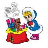Glückliches Mädchen mit Weihnachtsgeschenken stock abbildung