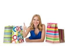 Glückliches Mädchen nach dem Einkauf lizenzfreies stockbild