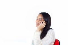 Glückliches Mädchen am Telefon Lizenzfreie Stockbilder