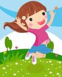 Glückliches Mädchenspringen lizenzfreie abbildung