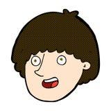 glückliches männliches Gesicht der komischen Karikatur Stockfotos