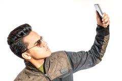Glückliches Mann selfie Stockbild
