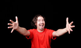 Glückliches Mannportrait über Schwarzem Lizenzfreie Stockfotos