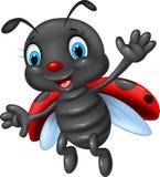 Glückliches Marienkäferwellenartig bewegen der Karikatur Stockfoto