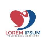 Glückliches menschliches Herzform-Logodesign lizenzfreie abbildung