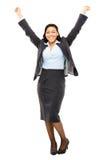 Glückliches MischrasseGeschäftsfraufeiern lokalisiert auf weißem Ba Stockfotos